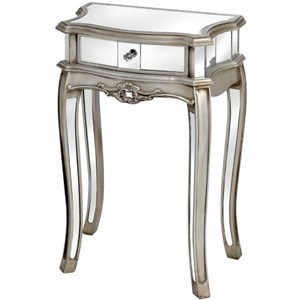 Argente Mirrored Single Drawer Lamp Table - 13008
