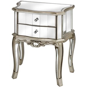 Argente Mirrored Two Drawer Bedside Table - 13013