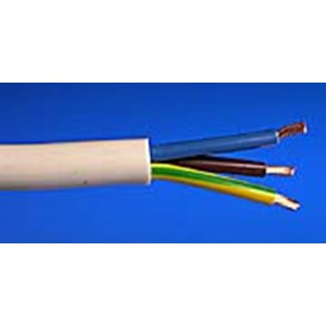 Electric Cable 3 Core,White Per Mtr