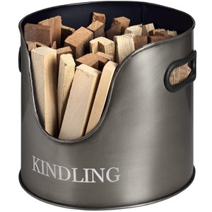 Antique Pewter Kindling Storage - 17529