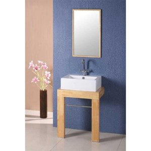Basin On Cube Light Wood Stand | AP1098FR