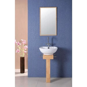 Basin on straight light wood stand | AP1097FR