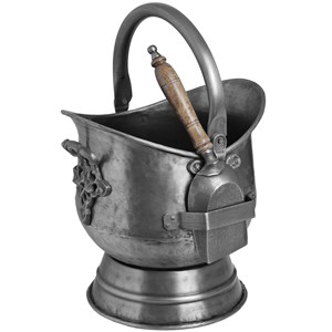Antique Pewter Coal Bucket with Shovel - 11298