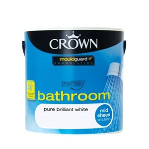 Crown Bathroom Emulsion Mid-Sheen B/White 2.5 Ltr