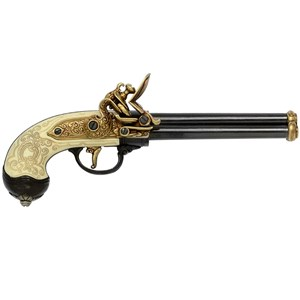 Brass & Ivory Three Barrel Flintlock Pistol (1680) - G1016L