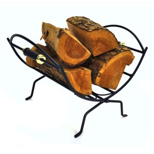 Black and Brass Folding Log Basket - J1839