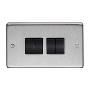Satin Stainless Steel Quad Light Switch - M3172
