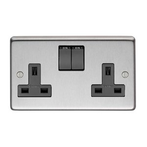 Satin Stainless Steel Double Socket - M3186