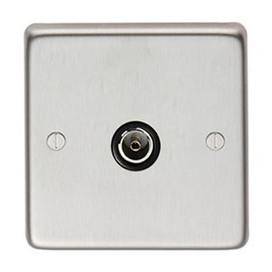 Satin Stainless Steel Single TV Socket - M3232