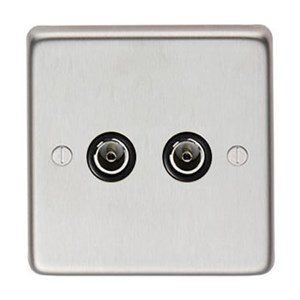 Satin Stainless Steel Double TV Socket - M3235