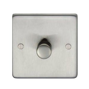 Satin Stainless Steel Single Dimmer Switch - 400w - M3255