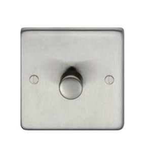 Satin Stainless Steel Single Dimmer Switch - 800w - M3258