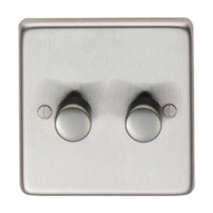 Satin Stainless Steel Double Dimmer Switch - 400w - M3269