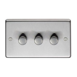 Satin Stainless Steel Triple Dimmer Switch - 400w - M3272