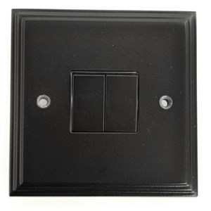Black Double Light Switch - M719