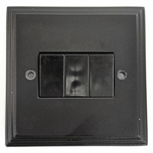 Black 3 Gang Light Switch - M726