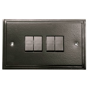 Black 4 Gang Light Switch - M727