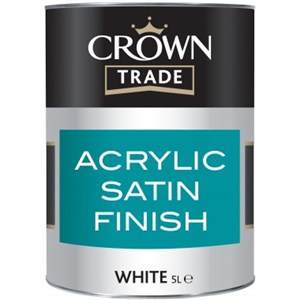 Crown Trade Acrylic Satin White 1 Ltr