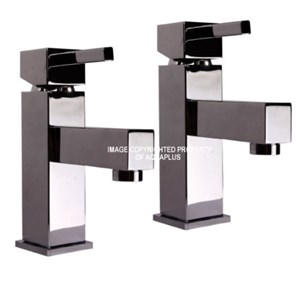 Square Style Cube Bath Pillar Taps | AP1038TA