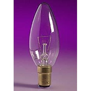 Candle Bulb,Triple Life,Clear,S.B.C.,25w