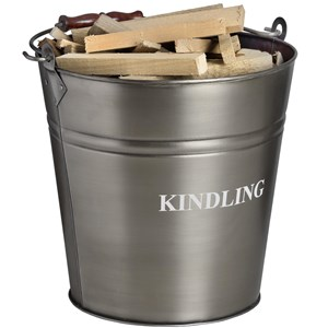 Antique Pewter Kindling Bucket - 17540