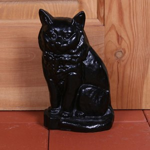 Small Black Cat Door Stop - G13