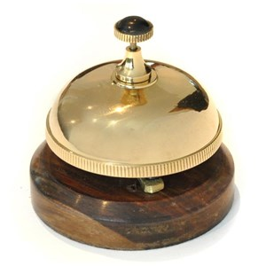 Brass Desk Bell with Wooden Base - J3237
