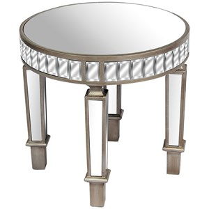 The Belfry Collection Mirrored Round Side Table - 19601