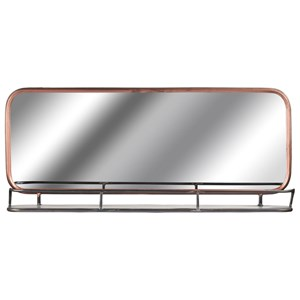 Industrial Copper Effect Wall Mirror With Shelf - 18858
